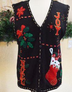 Christmas Joy Mistletoe Sweater Vest M Black/Multi Cute Party Ugly Bobbie Brooks #BobbieBrooks #VestSleeveless #Christmas