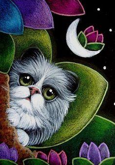 BICOLOR FAIRY CAT IN HER GARDEN... A FLOWER IN THE MOON