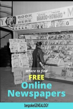 Where to find Free Online Newspapers. Historic newspapers can be a great resource for genealogy research, especially if other records are missing. Here are some great free newspaper sites. Free Genealogy Sites, Genealogy Research, Family Genealogy, Historic Newspapers, Genealogy Organization, Family Information, Newspaper Archives, Ancestry