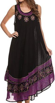 0ea32d0a61a44 Sakkas A900 Batik Flower Caftan Tank Dress / Cover Up - Black / Green - One  Size at Amazon Women's Clothing store: