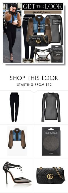 """Get the Look: Kendall Jenner"" by plnzh ❤ liked on Polyvore featuring Plakinger, BLK DNM, Sonia Rykiel, Topshop and Gucci"