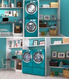 Amazing Laundry Room... and it happens to be teal too.