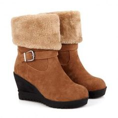 Simple Women's Wedge Boots With Faux Fur and Fold Design #ad
