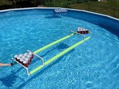 Awesome....Pool Beer Pong- WHAT!? YES! And no water cup needed! ;)