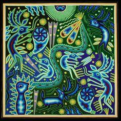 The Gods of Fire.  Huichol yarn painting by  Maximino Renteria de la Cruz