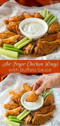 Easy Air Fryer Chicken Wings with Buffalo Sauce Recipe Got a craving for buffalo wings but don't have time to head out to a pub or restaurant? Try these air fryer chicken wings. It'll take less than 35 minutes to make the recipe. Air Fryer Wings, Air Fryer Chicken Wings, Aperitivos Keto, Chicken Wing Recipes, Keto Chicken, Buffalo Wings, Sauce Recipes, Low Carb Recipes, Easy Recipes
