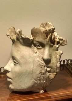 Terracotta Fantasy sculpture or sculpture by sculptor Paola Grizi titled: 'absent-mindedly (abstract lovely Woman`sFaces statue)' - Artwork View 2