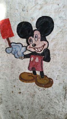 Mickey pushing paletas in la paz, mexico