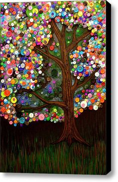 Button Tree Canvas. Got extra buttons? This would make a great group project - everyone slaps on buttons! A piece of artwork like this would be donated to fill a hospital lobby or a very special family's wall.