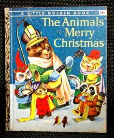 ZoomZoom InZoom Out    	  ★1958 vintage 1ST ED ANIMALS MERRY CHRISTMAS RICHARD SCARRY little golden book
