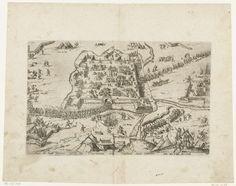 anoniem | Verovering van Ardres, 1596, attributed to Philipp Uffenbach, 1596 - 1598 | Verovering van Ardres door Albrecht van Oostenrijk, 23 mei 1596. De Franse troepen verlaten de omsingelde stad. Met onderschrift van 1 regel in het Duits. Ongenummerd. Gedeeltelijke kopie naar de prent van Hogenberg.