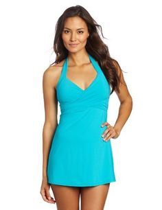 Calvin Klein Women's Crossover Swim Dress, Bluebird    Good suit for pear shapes--hides hips!
