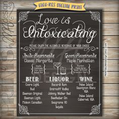 Wedding Bar Menu Love is Intoxicating Alcohol by PRINTSbyMAdesign