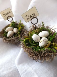 Cool artist (and blog) uses acorn tops, moss, makes clay eggs, & Tim Holtz pins to make place card holders!