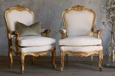 One of a Kind Vintage Gilt Louis XV French Style Armchairs Pair-Upholstered, cream, burlap, painted,  furniture, chairs,