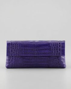 Fall Trends*                                                              Purple Reigns~ Medium Soft Flap Crocodile Clutch Bag, Purple by Nancy Gonzalez at Neiman Marcus.