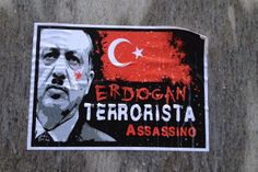 Foto volantino erdogan terrorista