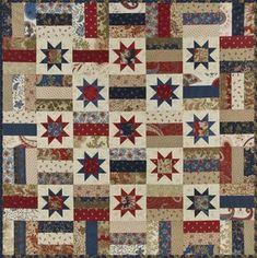 "Lincoln from Scnibbles -- Wiscasset by Minnick & Simpson... Two charm packs and 3/8 yard for the background on the stars. And it measures about 31"" x 31""."