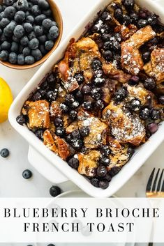 Blueberry brioche french toast is the perfect simple brunch recipe to make for a lazy weekend at home! Its delicious not too sweet dairy free and does not need to be refrigerated overnight! Healthy Breakfast Choices, Healthy Vegetarian Breakfast, Breakfast Ideas, Brioche French Toast, French Toast Bake, Easy Brunch Recipes, Healthy Recipes, Brunch Ideas, Brunch Dishes