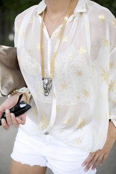 Zara White Oversize Gold Star Print Sheer Tunic by Guiadeestilo