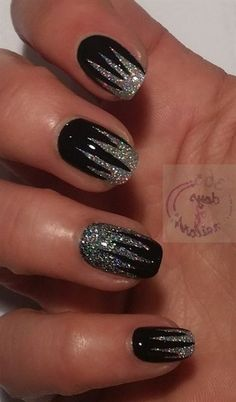 Stunning Glitter Nail Designs Glitter nail art designs have become a constant favorite. Almost every girl loves glitter on their nails. Glitter nail designs can give that extra edge to your nails and brighten up the move and se… Nail Designs 2017, Black Nail Designs, Cute Nail Designs, Wild Nail Designs, New Years Nail Designs, Pretty Designs, Edgy Nails, Trendy Nails, Cute Nails