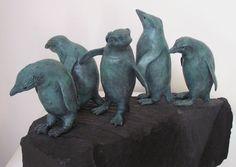#Bronze #sculpture by #sculptor Christine Close titled: 'ROCKHOPPERS (bronze Little PenguinS statuettes)'. #ChristineClose