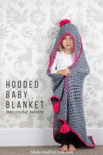 """Based on a large granny square, the """"Granny Gives Back"""" crochet hooded baby blanket pattern makes an easy and inexpensive project to donate to children's charities. The oversized hood and playful tassels will give any kid a safe, warm place to escape to. Click for the free pattern using Lion Brand Pound of Love yarn!"""