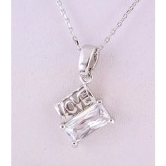 New silver emerald cut CZ Love pendant Necklace Mom Mothers Day Heart gift box