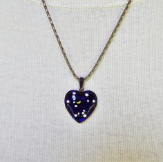 Vintage Glass Heart Necklace with Crescent Moon by FairfaxDavis