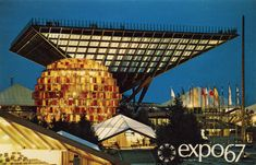 The Canadian Pavilion at Expo The same thing about the previous two images can be said about this image. The Canadian pavilion heavily contributed to Expo image of a hotbed of Architecture. Expo 67 Montreal, Montreal Ville, Montreal Quebec, Niagara Falls Pictures, Lounge, Expositions, World's Fair, Images, 1960s