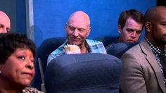 Patrick Stewart plays the five most annoying people on an airplane
