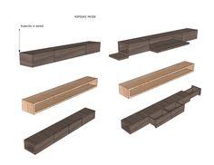 MODE: Repisa de reducidas dimensiones con pequeños cajones secretos o totalmente abierta, para guardar y exhibir .