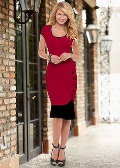 Be the lady in red at the office. Venus button detail dress with Venus peep toe ankle strap heel.