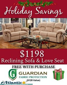 Our Holiday Gift To You. Free Fabric Protection Mention Your Free Gift. Melbourne Florida, Atlantic Furniture, Reclining Sofa, Coastal Living, Free Gifts, Living Room Furniture, Holiday Gifts, Love Seat, Amazing