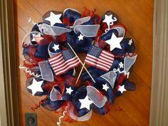 Patriotic July 4th Wreath by HollipopArtAddiktion on Etsy