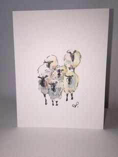 Set von sechs gedruckten Schafe Aquarell Karten Dies ist ein schönes Set von sechs Qualität gedruckt Karten. Dies ist ein qualitativ hochwertiger Druck der ein original-Gemälde von mir. Dieses Karten-Set ist auf eine schöne gefilzte Papier gedruckt. Die Karten kommen mit weißen oder