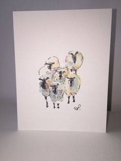 Set of Six Watercolor Sheep Printed Cards / Hand by gardenblooms                                                                                                                                                                                 Mais