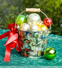 Vintage Victorian Christmas Pail Tutorial...I love vintage clip art, I might do this with a large bowl as a centerpiece.