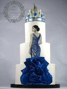 Blue dress Cake with crown Unique Cakes, Elegant Cakes, Creative Cakes, Gorgeous Cakes, Pretty Cakes, Amazing Cakes, Cupcakes, Cupcake Cakes, Bolo Fashionista