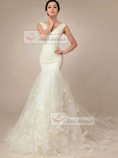 Elegant Mermaid Wedding Dress Tulle V-neck Court Train Wedding Dresses on Etsy, $195.69