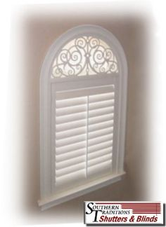 Half Round Arch with Solar Shade Backing Mounted above Single Plantation Shutter Panel.jpg
