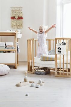 Stokke Sleepi Convertible Crib grows with baby from newborn to approx 10 years of age –Sustainable + Smart Nursery Design