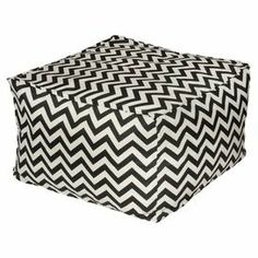 """Offer guests an extra seat on your patio or in the sun room with this lovely indoor/outdoor bean bag ottoman, showcasing a classic chevron motif in black and white.   Product: Bean bag ottoman Construction Material:  Fabric cover and pellet and bead filling Color: Grey and whiteFeatures:  Removable cover Water resistantSuitable for indoor and outdoor use Dimensions: 17"""" H x 27""""  W x 27"""" HCleaning and Care:  Remove cover, wash cold and hang dry"""