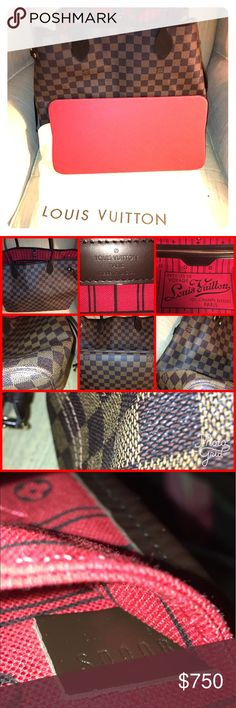 Louis Vuitton Neverfull GM Tote. Louis Vuitton Neverfull GM Tote. Excellent used condition. Handles and leather trim replaced by LV January 2017.. inside clean and comes with RED base shaper. No tears or rips. Corners look good some wear, but still looks very good. This is the Damier Ebene large version of this bag.  Reasonable offers accepted. Thanks Louis Vuitton Bags Totes