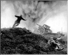 A German soldier dies in as an Allied shell hits the German gun position. Another German soldier had died before.