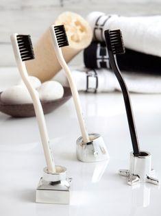 Silver toothbrush/razor holders