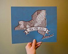 New York State Bird- Eastern Bluebird 8 x 10 Print by kelzuki on etsy State Birds, Cartography, Bird Prints, Bird Feathers, Wall Collage, Blue Bird, Illustration Art, Illustrations, Art Photography
