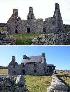 "The ""before"" when still a ruin. On the tiny island of Coll with just two hundred residents off the coast of Scotland sits a modest masterwork of modern renovation – a brand new home slotted delicately inside the (reinforced) crumbling stone ruins of an ancient local manor."