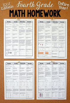 Fourth grade math homework or morning work that provides a daily review for 4th grade math standards. This fourth grade spiral math review resource is fully EDITABLE and comes with answer keys and a pacing guide.