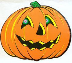 vintage 1970s jack o lantern pumpkin die cut halloween decoration - Halloween Items